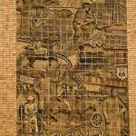 Located on the south side of the American Bank in Baxter Springs, KS this mural depicts some of the historical aspects of the city and surrounding area.